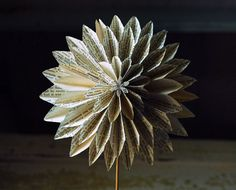 Book Blossom Paper Dahlia, Book Pages, Paper Anniversary, Origami Flower on a stem