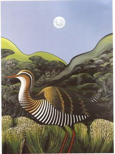 Art Maori, New Zealand Art, Nz Art, Art Folder, Landscape Paintings, Landscapes, Bird Illustration, Wildlife Art, Bird Art