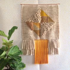 Weaving woven wall hanging tapestry by Maryanne Moodie  www.maryannemoodie.com