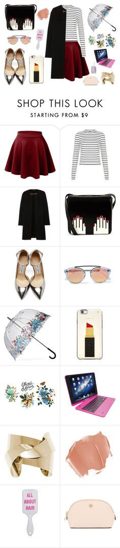 """""""Skater Girl"""" by abigail-gough ❤ liked on Polyvore featuring LE3NO, Burberry, Lulu Guinness, Jimmy Choo, Westward Leaning, Fulton, Kate Spade, Tattly, Tzumi and Tory Burch"""