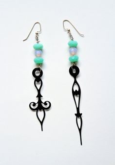 Steampunk Clock Hand Earrings  UV Blacklight by mannequinreject, $20.00