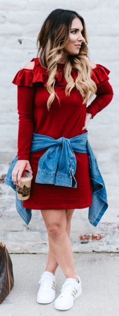awesome spring outfits /  Red Open Shoulder Dress / White Sneakers