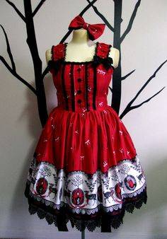 """JSK is READY TO SHIP premade item and will arrive in time for Halloween! Jumperskirt: Small/medium Bust: 33""""-38.5"""" Waist: 25""""-31"""" Approx. Skirt width: 88-90"""""""
