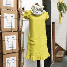 The Kate Dress pattern by Sew Me Something in Sulphur Laundered Linen and finished with the Infinity Scarf kit
