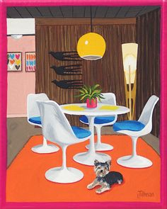 SAARINEN DINETTE  Yorkie in the dining room by an Eero Saarinen table and chairs. Mid century modern living.  This is a limited edition (200 prints) print by Linda Tillman. It is a print of an original gouache painting. Prints are all printed on archival matte paper. They are printed with a Canon iX6500 printer. It has a border. The edges of the composition fade softly into white as they do on the original painting. The print will fit a standard pre-cut matte for easy framing.  The size is 8…
