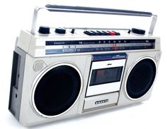 Retro 1980s Boom Box  Description:  1980's Break Dancing Style Boom Box. Cardboard and Adidas Sneakers not Included.