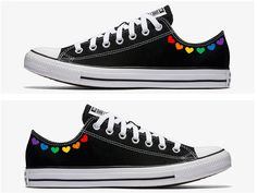 Grey Converse, Converse Shoes, Custom Converse, Converse Design, Pride Shoes, Painted Converse, Rainbow Shoes, Hand Painted Shoes, Girls Shoes