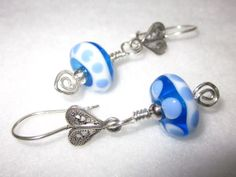 Handcrafted Blue and White Lampwork Glass by BlueberryBayBeads, $30.00
