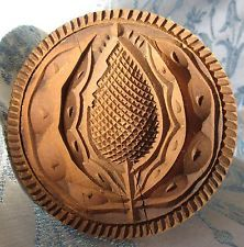 Antique Primitive Butter Stamp Mold Cookie Print Carved Wood Thistle Flower