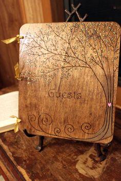 Reception: Custom Wedding Guest Book - Tree. $40.00, via Etsy.