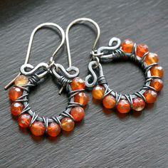 Handmade carnelian earrings, orange earrings, copper earrings, wire wrapped hoops, sterling silver earwires, beaded. $44.50, via Etsy.