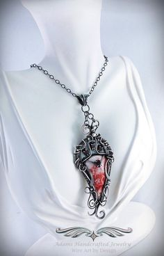 """Rosalynde"" - Rosetta Lace Pendant Necklace .999 Fine Silver w/ Faceted Garnets (3.5 ct tgw)"