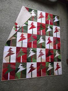 Christmas quilt-trees up, lights on - Sandy Gervais