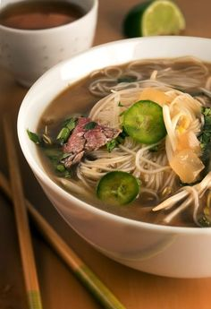 """Faux pho … to a tea: Rooibos tea mimics authentic pho broth in this quick recipe."""