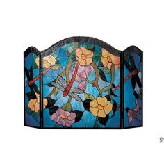 TIFFANY DRAGONFLY FIREPLACE SCREEN- I just want it to hide the litter box!