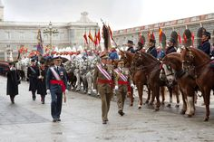 KING JUAN CARLOS OF SPAIN      Inspects the Royal Guard during a celebration of the military