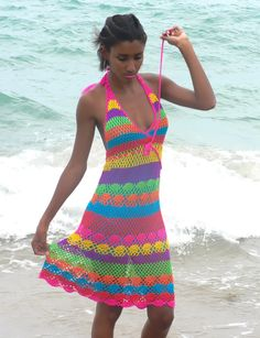 This Handmade crochet dress 02 Multicolor is just one of the custom, handmade pieces you'll find in our dresses shops. Cotton Crochet, Knit Crochet, Vestido Multicolor, Knitting Patterns, Crochet Patterns, Crochet Summer Dresses, Beautiful Crochet, Dress Patterns, Style Patterns