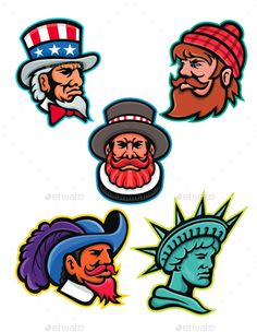 14033cd102d Buy American and British Mascots Collection by patrimonio on GraphicRiver.  Mascot icon illustration set of heads of American and British mascots such  as ...