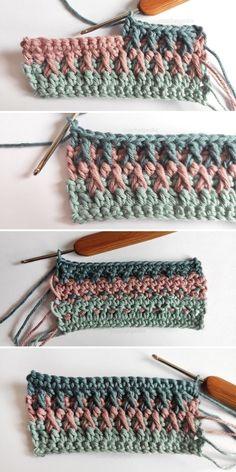 Crochet Ripple, Granny Square Crochet Pattern, Crochet Stitches Patterns, Diy Crochet, Crochet Crafts, Crochet Projects, Single Crochet Stitch, Double Crochet, Modern Crochet