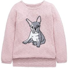 V By Very Girls Knitted French Bulldog Jumper (15 CAD) ❤ liked on Polyvore featuring tops, sweaters, long sleeve jumper, jumper top, jumpers sweaters, pink sweater and long sleeve tops