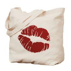 Red lip Kiss Tote Bag