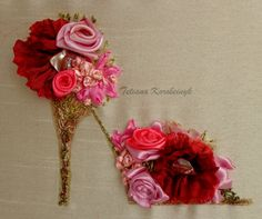 Small picture Flowers shoe Silk ribbon by SilkRibbonembroidery