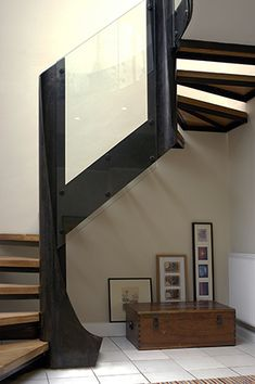 patinated steel, oak and toughened glass staircase. Dark Staircase, Winding Staircase, Staircase Design, Big Design, House Design, Traditional Staircase, House Stairs, Stairways, Ground Floor