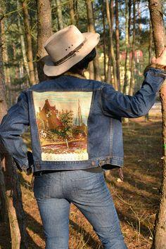Upcycled denim jeans jacket hippie boho L XL denim by MyEspresso #upcycled #boho #gypsy #romantic #fashion #bohemian