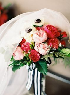 Pink Rose and Peony Bouquet with Black and White Anemones | Jordan Brittley Photography | http://heyweddinglady.com/whimsical-kate-spade-wedding-black-tie/