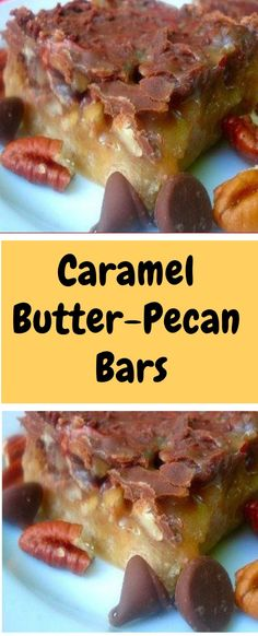 Caramel Butter-Pecan Bars Ingredients 2 cups all-purpose flour 1 cup packed brown sugar cup cold butter 1 cups chopped pecans 1 ounce) jars caramel ice cream topping, warmed 1 ounce) packages milk chocolate chips Directions Preheat oven Pecan Recipes, Candy Recipes, Sweet Recipes, Cookie Recipes, Dessert Recipes, Cake Bars, Dessert Bars, Nutella, Pecan Bars