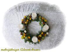 Adventskranz 32 cm aus Floristenhänden mehrjährig von Die Geschenkidee auf DaWanda.com