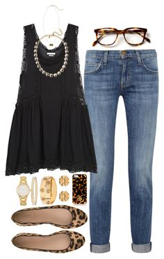"""dress & jeans"" by tabooty ❤ liked on Polyvore featuring Current/Elliott, Étoile Isabel Marant, J.Crew, Kate Spade, Tory Burch and Kendra Scott"
