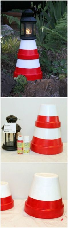 DIY: Clay Pot Lighthouses. Here is an easy way to make a lighthouse in your garden. These cute yard decorations are cheap and easy to make!