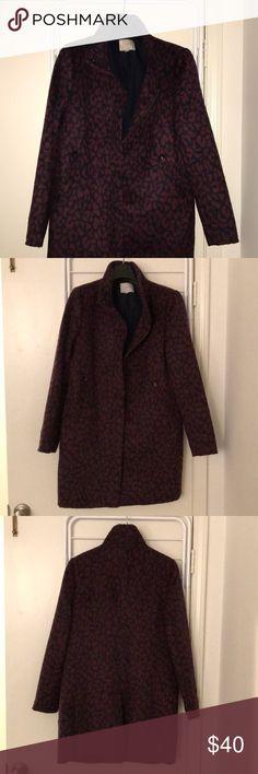 LOFT-Coat Funnel neck, navy and burgundy leopard print coat. Zippered front and two zip pockets LOFT Jackets & Coats Pea Coats