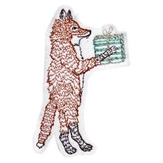 Check out this item at One Kings Lane! Fox w/ Present Ornament