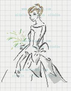 point de croix mariée - cross-stitch bride