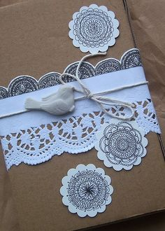 Use paper doillies on gifts.