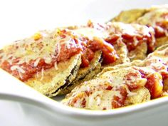 Even without frying, this Eggplant Parmesan turns out crispy and delicious.