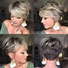 Hair Beauty - charming short ombre hairstyles ideas for women 7 hairstyle fashion shorthairstyle < moeshouse Short Hair With Layers, Short Hair Cuts For Women, Cuts For Thick Hair, Short Stacked Hair, Short Cuts, Pixie Haircut For Thick Hair, Pixie Haircuts, Pixie Haircut Styles, Short Blonde Haircuts