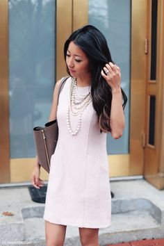 Office style // Ann Taylor pink wool dress + pearls + taupe work tote
