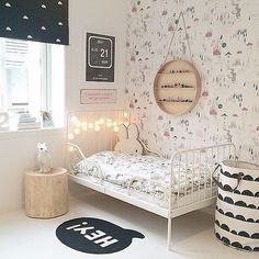 This shared girls' bedroom is sophisticated yet playful, practical yet whimsical. With a mix of old and new pieces, they've created a very personal space, where art prints are one of the room's focal points. My New Room, My Room, Girls Bedroom, Bedroom Decor, Childrens Bedroom, Design Bedroom, Bedroom Wall, Bedroom Ideas, Deco Kids