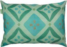 fresh green rectangular cushion with turquoise & green flower motif