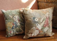 Peter Rabbit, Jemima Puddle Duck, Beatrix Potter, Tapestry Pillows, an ebay find for baby's room