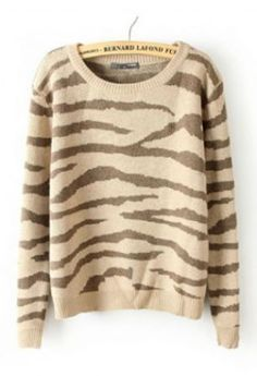 Khaki Long Sleeve Zebra Striped Pullovers Sweater #SheInside