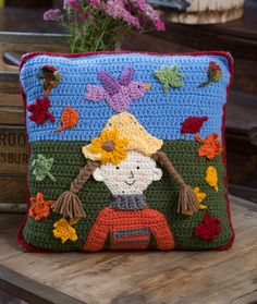 Falling Leaves Pillow...just look at all the free crochet appliqué patterns!