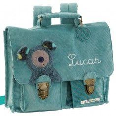 Petit cartable turquoise koala Les zazous (personnalisable)  - Moulin Roty