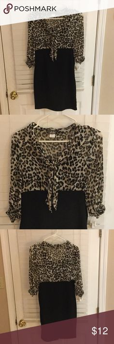 Business casual leopard print knee length dress Business casual leopard print top knee length dress, slit in back, belt loops if you'd like to add a cute belt, elastic around 3/4 length sleeves, non pet/smoke home Dresses