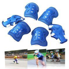 EA14 Wholesale 6 pcs Children Kid Sports Roller Skating Skateboard Skiing Elbow Knee Pads Wrist Protective Guard Gear Pad Gear