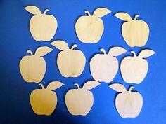 10 Birch ply apple fruit shapes teacher decoration wedding pyrography NOT MDF
