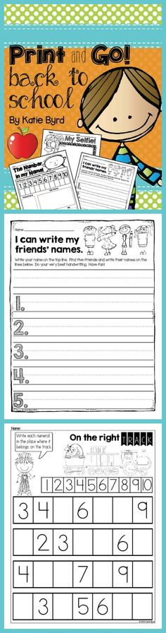 Fun no prep practice pages that are perfect for back to school in Kindergarten!  Use these for homework, morning work, or independent centers.  You will find some assessments and recording sheets for guided activities too.  As always, made to save your ink and time.  Happy teaching! $